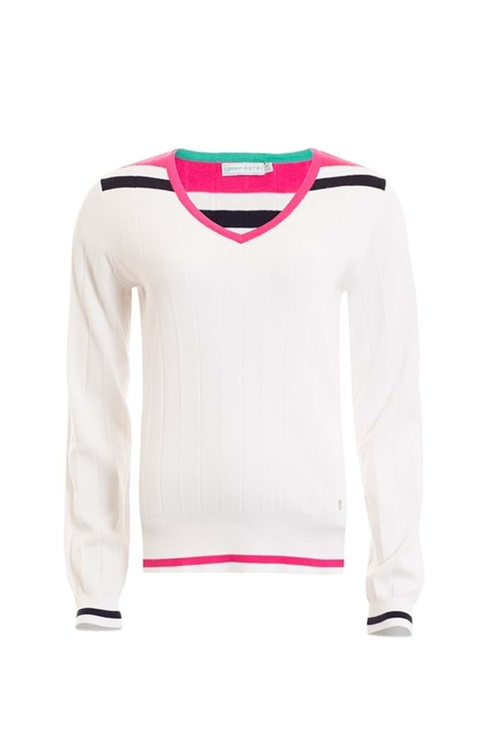 Picture of Green Lamb Becca Colour Block Sweater - White/Fuchsia