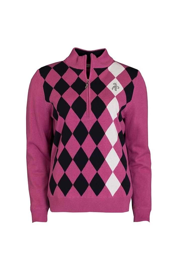Picture of Green Lamb ZNS Bibi Lined Argyle Front 1/2 Sweater - Rose/Navy