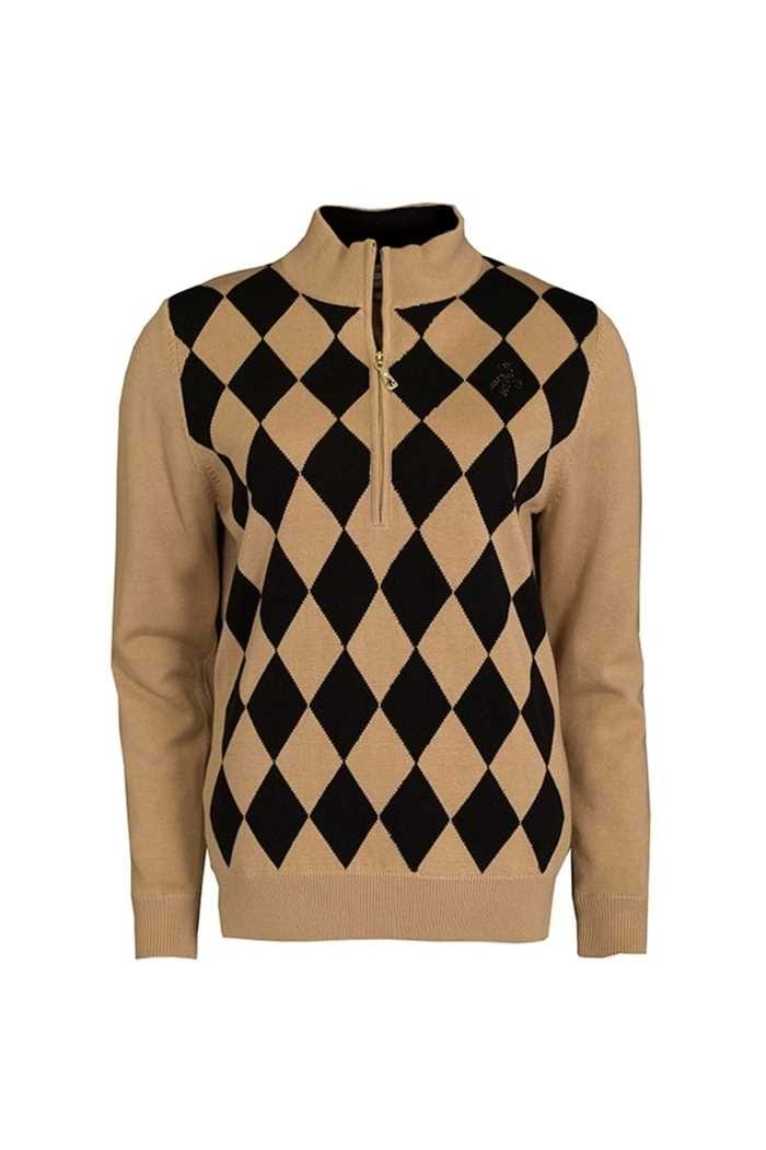 Picture of Green Lamb ZNS Bibi Lined Argyle Front 1/2 Zip Sweater - Gold/Black