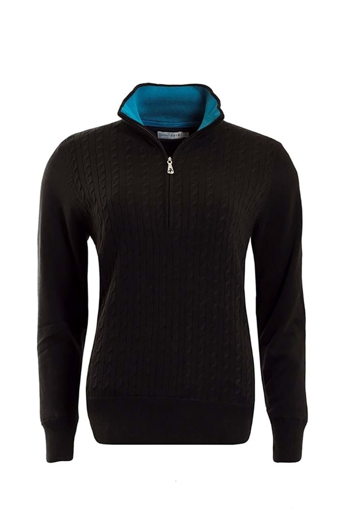 Picture of Green Lamb ZNS Britt Lined Cable 1/2 Zip Sweater - Black/Fjord Blue