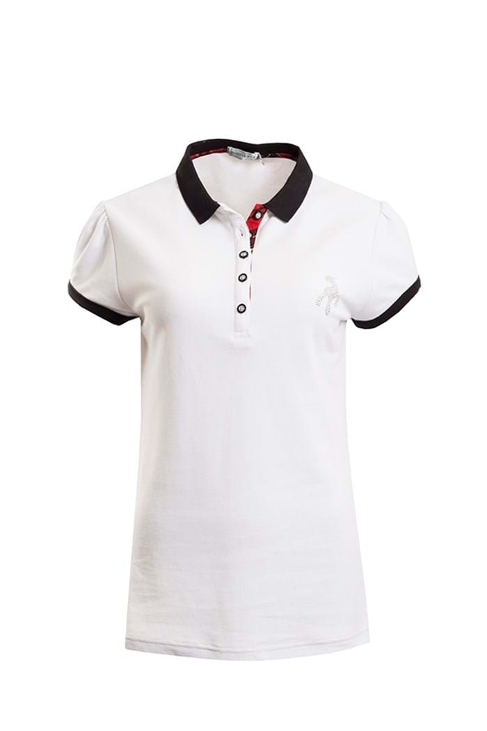 Picture of Green Lamb ZNS Fabienne Check Polo Shirt - White/Black