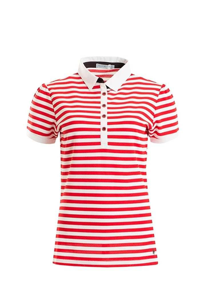 Picture of Green Lamb ZNS Fern Striped Polo Shirt - Berry/White