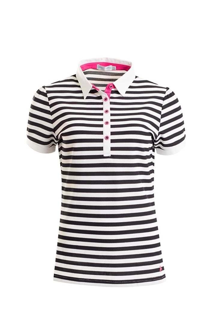 Picture of Green Lamb zns Fern Striped Polo Shirt - Navy/White