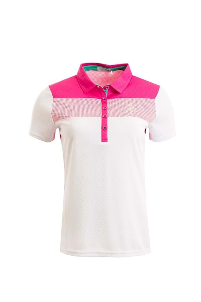 Picture of Green Lamb ZNS  Mesh Dot Polo Shirt - White/Fuchsia