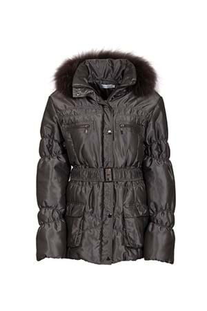 Picture of Green Lamb Janice Padded Jacket with Fur Trim - Charcoal