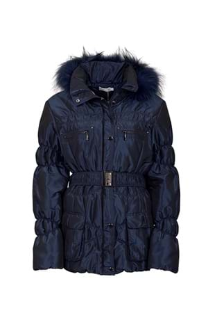 Picture of Green Lamb Janice Padded Jacket with Fur Trim - Navy