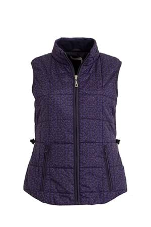 Picture of Green Lamb Jemima Printed Padded Gilet - Navy/Fir