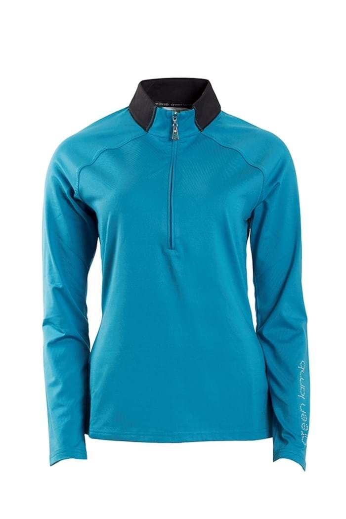 Picture of Green Lamb ZNS Laurel 1/2 Zip Raglan Top - Fjord Blue/Black