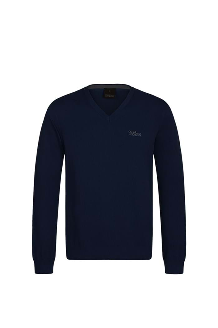 Picture of Oscar Jacobson ZNS Bobby Tour V-neck Sweater - Navy