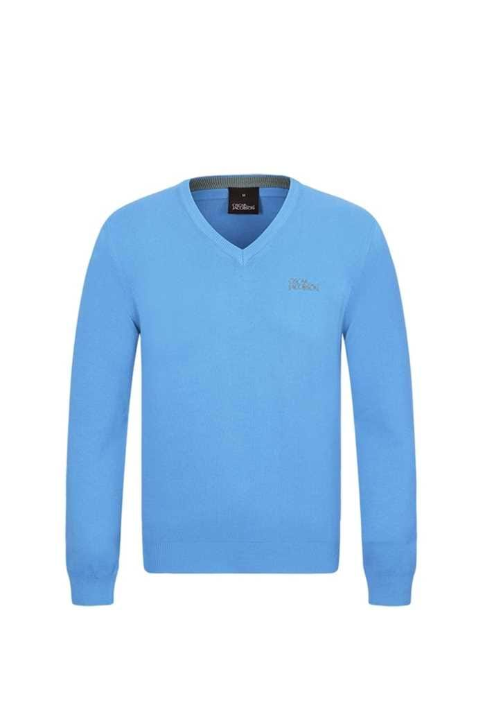Picture of Oscar Jacobson zns Bobby Tour V-neck Sweater - Sky Blue