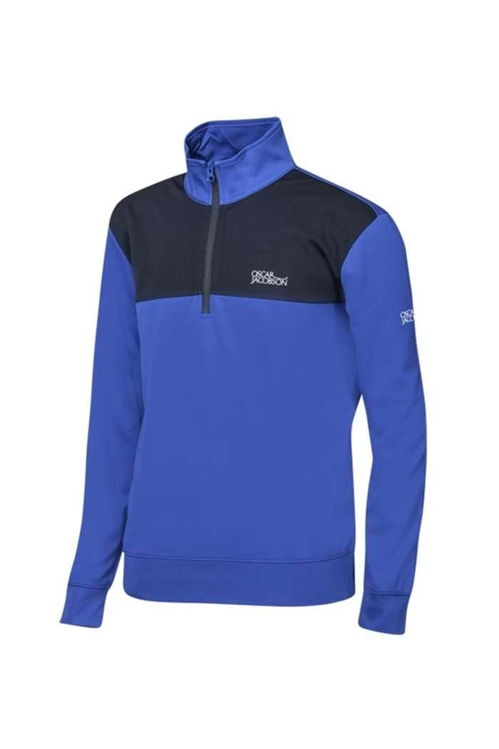 Picture of Oscar Jacobson Pock Tour Half Zip Top - Deep Blue/Black