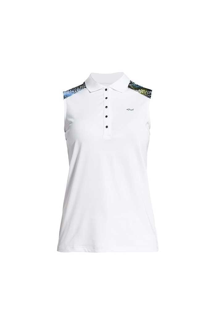 Picture of Rohnisch Print Sleeveless Polo Shirt - Blue Shell Ocean Ripple