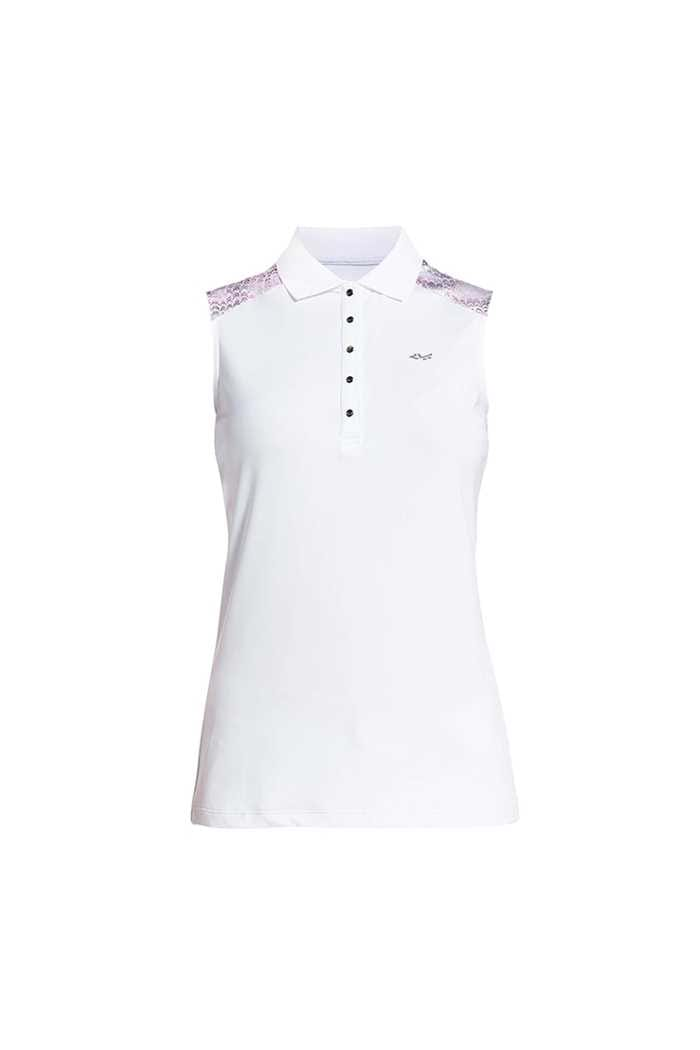 Picture of Rohnisch Print Sleeveless Polo Shirt - Cherry Blossom Ocean Ripple