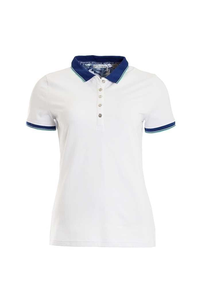 Picture of Green Lamb Patsy Jersey Club Polo Shirt - White / Ocean