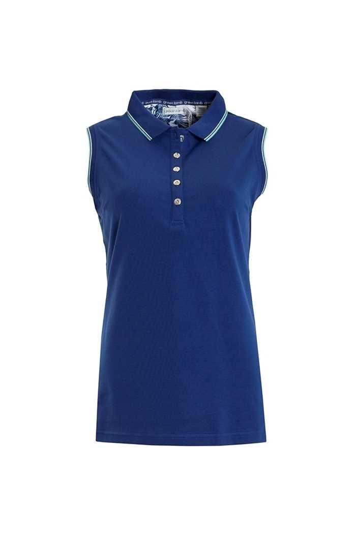 Picture of Green znsLamb Paulina Jersey Club Sleeveless Polo - Ocean