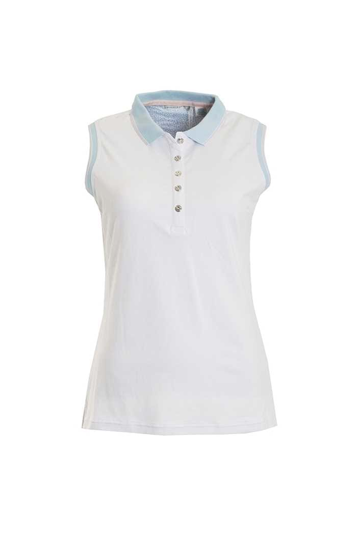 Picture of Green Lamb Paulina Jersey Club Sleeveless Polo - White / Blue