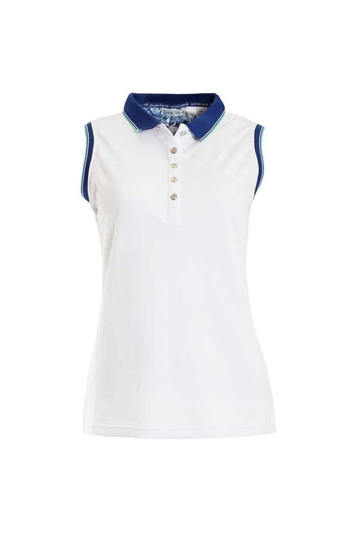 Picture of Green Lamb zns Paulina Jersey Club Sleeveless Polo - White / Ocean