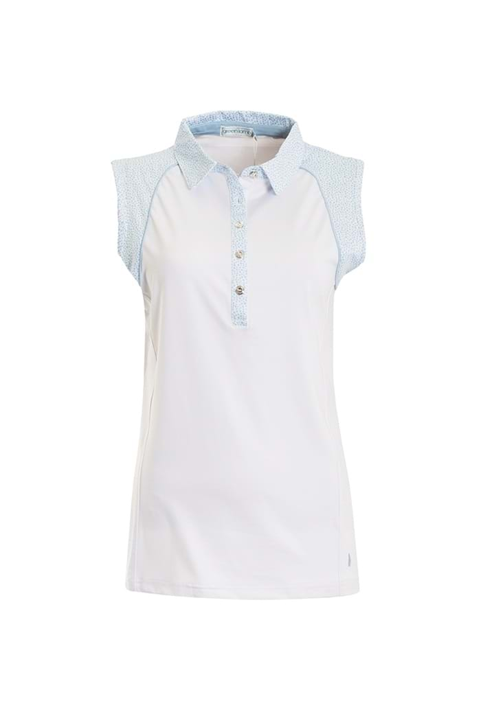 232b6e7e6737a7 Green Lamb Ladies Piper Sleeveless Polo Shirt - White   Blue - Green ...