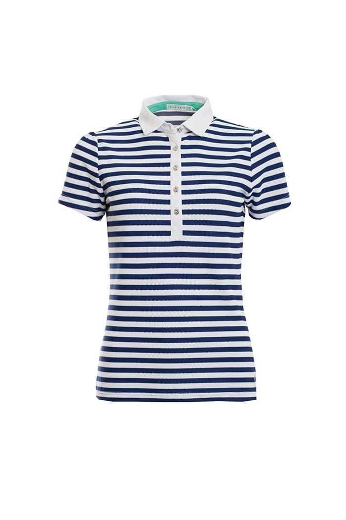 Picture of Green Lamb ZNS Pip Stripe Polo Shirt - Ocean / White