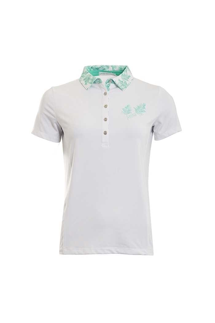 Picture of Green Lamb Peggy Palm Print Polo Shirt - White / Green
