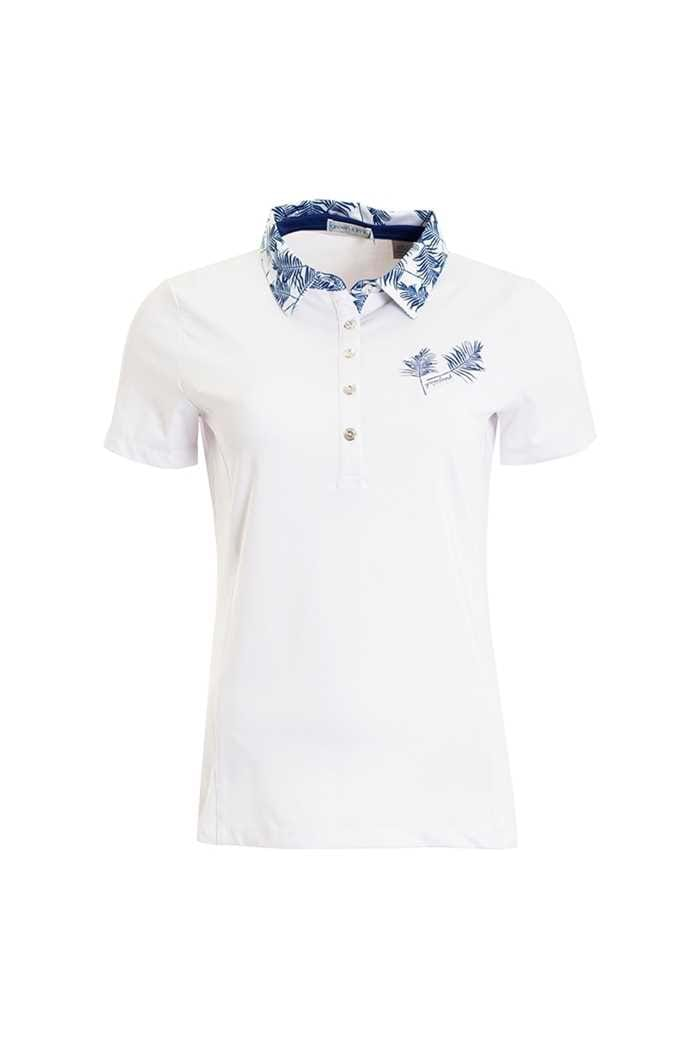 Picture of Green Lamb Peggy Palm Print Polo Shirt - White / Ocean