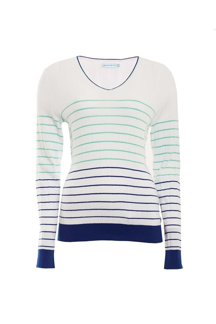 Picture of Green Lamb Blake Stripe Sweater - White / Ocean