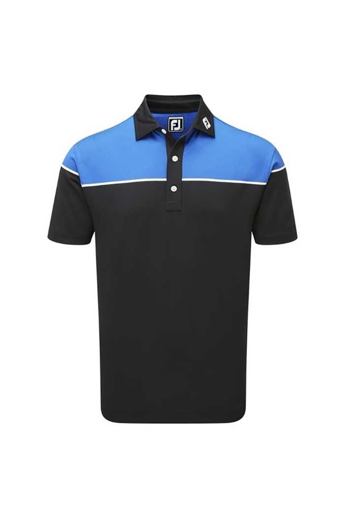 Picture of FootJoy ZNS Colour Block Pique Polo - Black / White / Cobalt