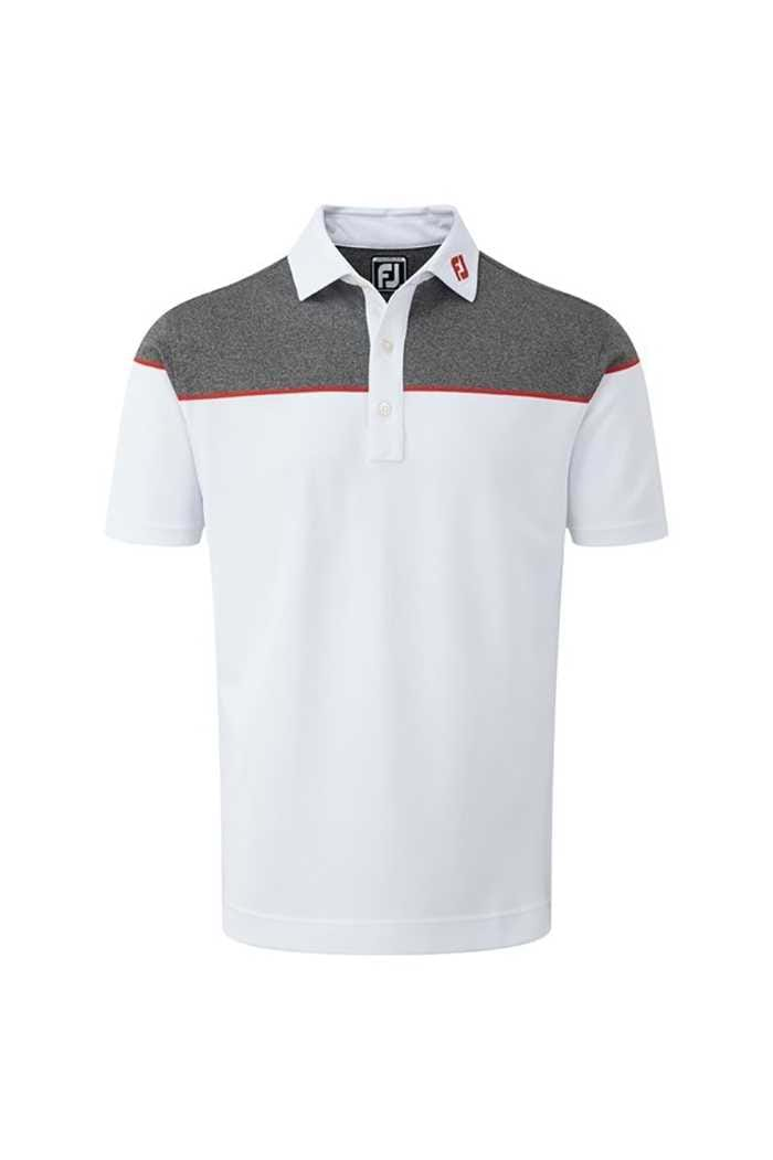 Picture of FootJoy ZNS Colour Block Pique Polo - White / Red / Charcoal