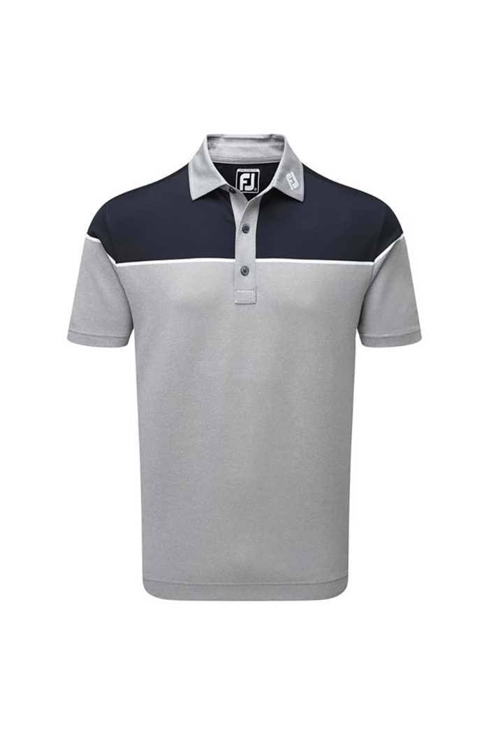 Picture of FootJoy  zns Colour Block Pique Polo - Heather Grey / White / Navy