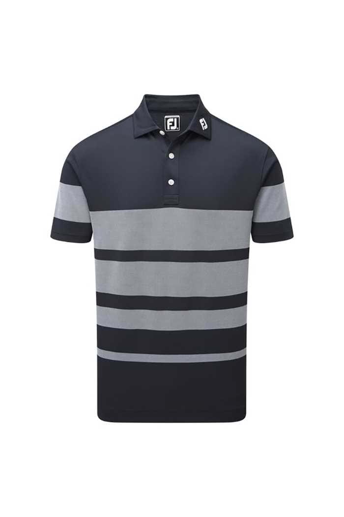 Picture of FootJoy ZNS Birdseye Stripe Pique Polo Shirt - Navy / White