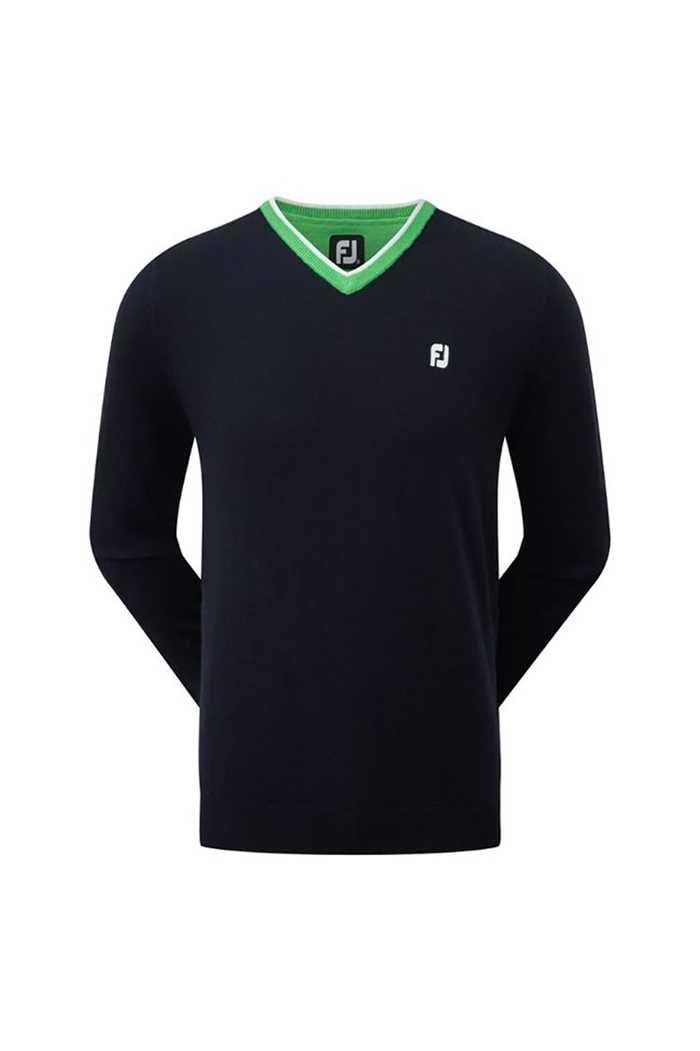 Picture of FootJoy Wool Blend V-Neck Sweater - Navy / Green