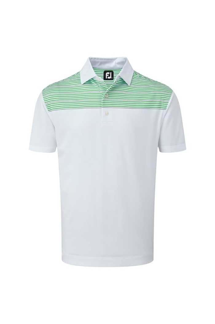 Picture of FootJoy ZNS Stretch Lisle Shoulder Stripe Polo - White / Green / Navy
