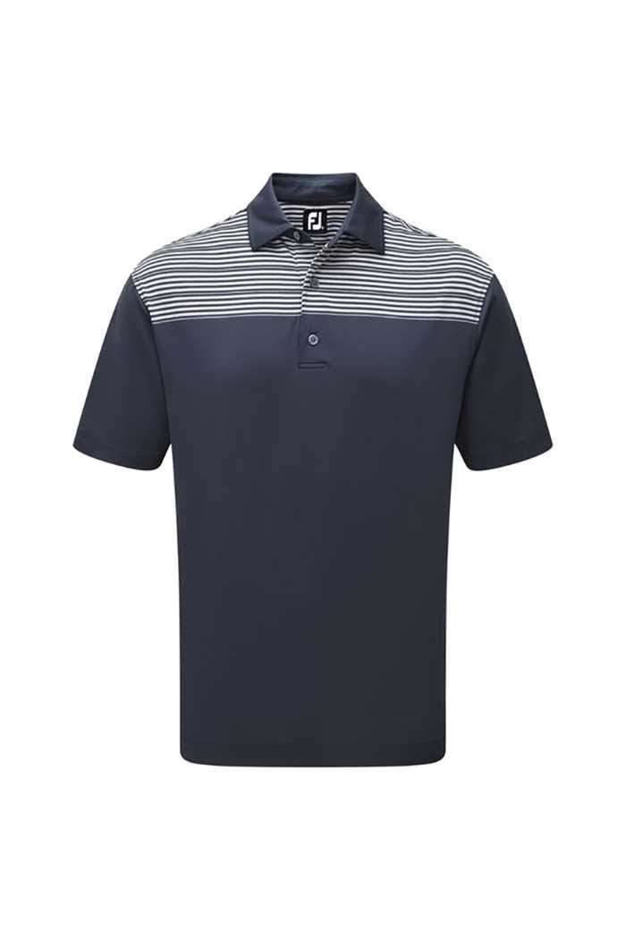 Picture of FootJoy zns Stretch Lisle Shoulder Stripe Polo - Navy / Heather Grey / White
