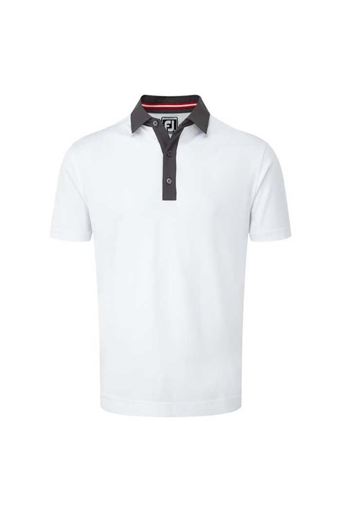 Picture of FootJoy ZNS Smooth Pique Pin Dot Polo - White / Charcoal / Red