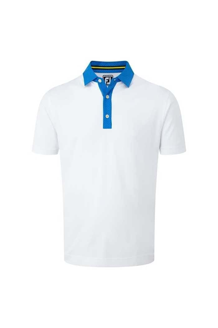 Picture of FootJoy ZNS Smooth Pique Pin Dot Polo - White / Cobalt / Yellow
