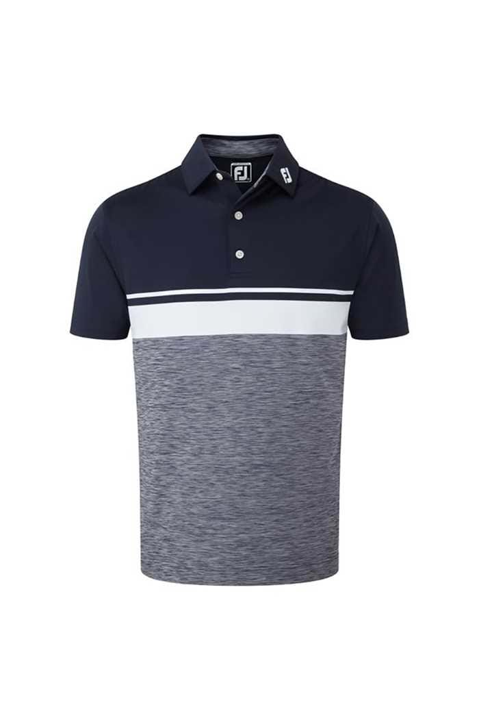 Picture of FootJoy ZNS Lisle Colour Block Space Dye Polo - Navy / White