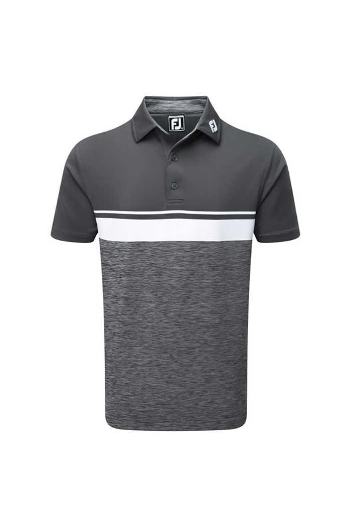 Picture of FootJoy ZNS Lisle Colour Block Space Dye Polo - Charcoal / White