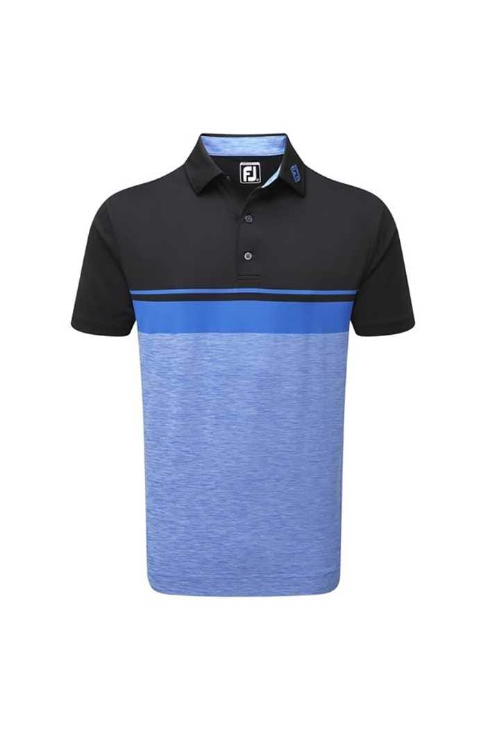 Picture of FootJoy ZNS Lisle Colour Block Space Dye Polo - Black / Cobalt