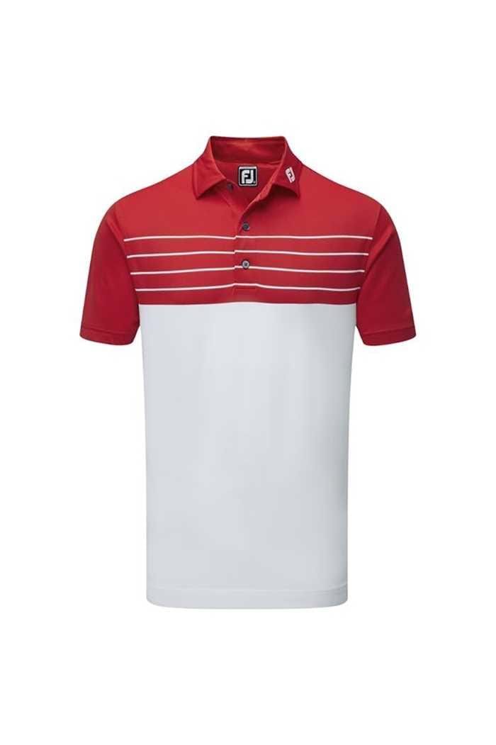Picture of FootJoy ZNS Colour Block Striped Pique Polo - White / Red