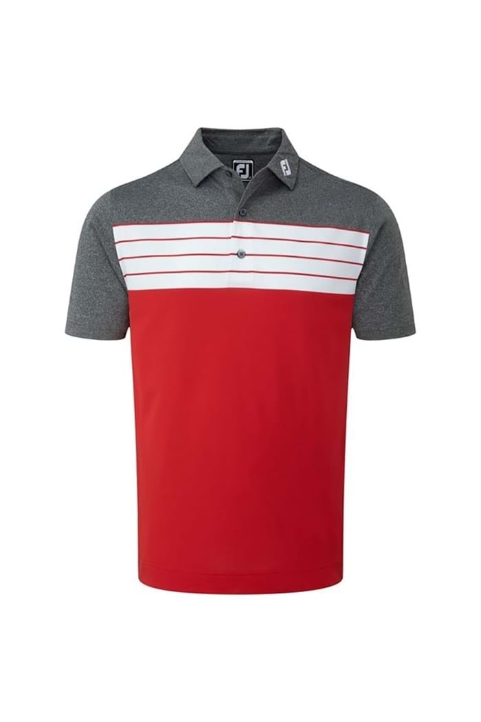 2c4a3543 Picture of FootJoy ZNS Colour Block Stripe Polo - Red / White / Charcoal