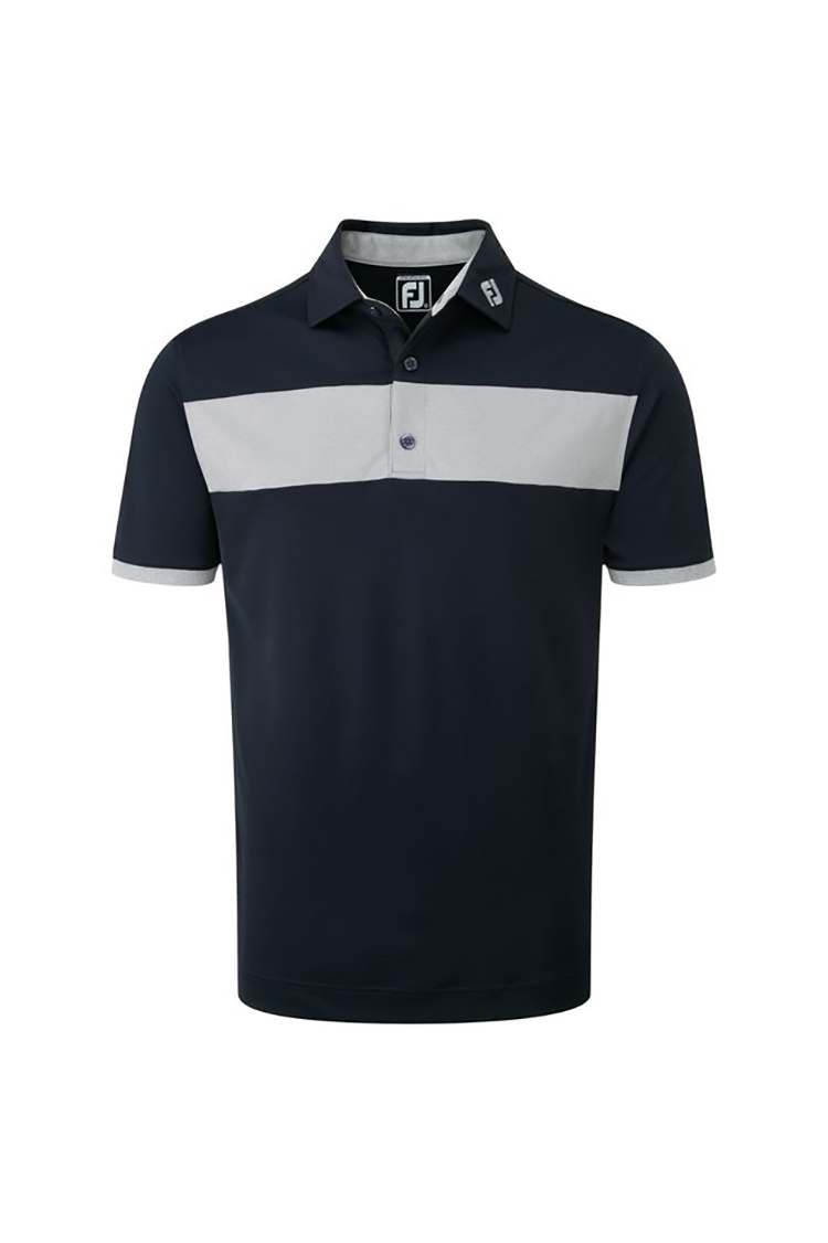 Picture of FootJoy ZNS Heather Pieced Stripe Smooth Polo - Navy / Heather Grey