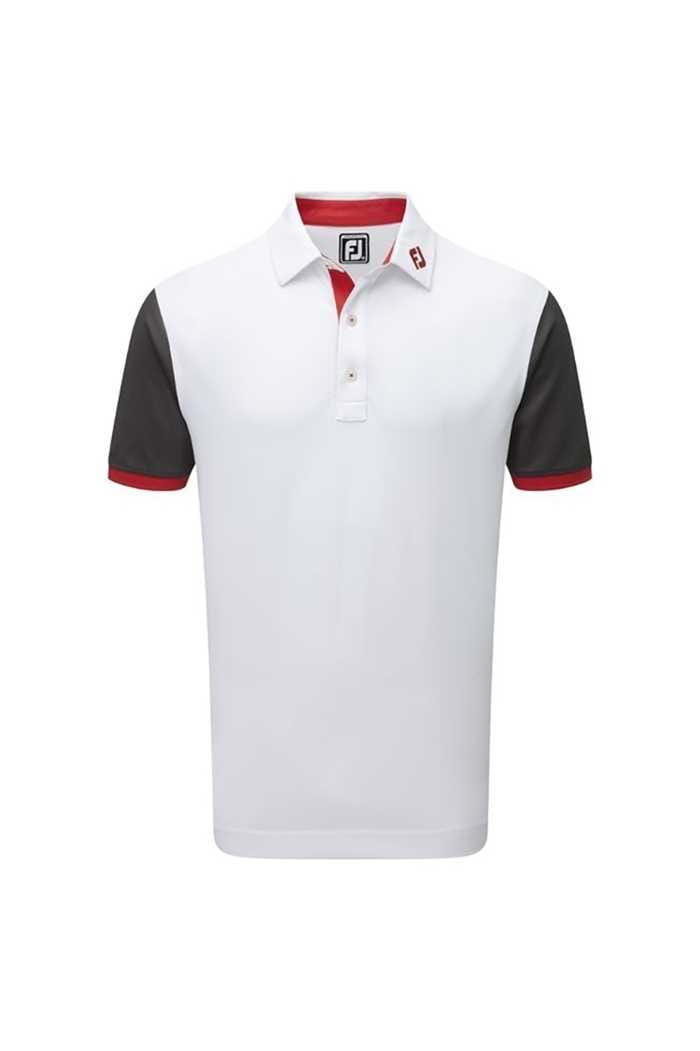 Picture of FootJoy ZNS Stretch Colour Block with Contrast Trim - White / Charcoal / Red