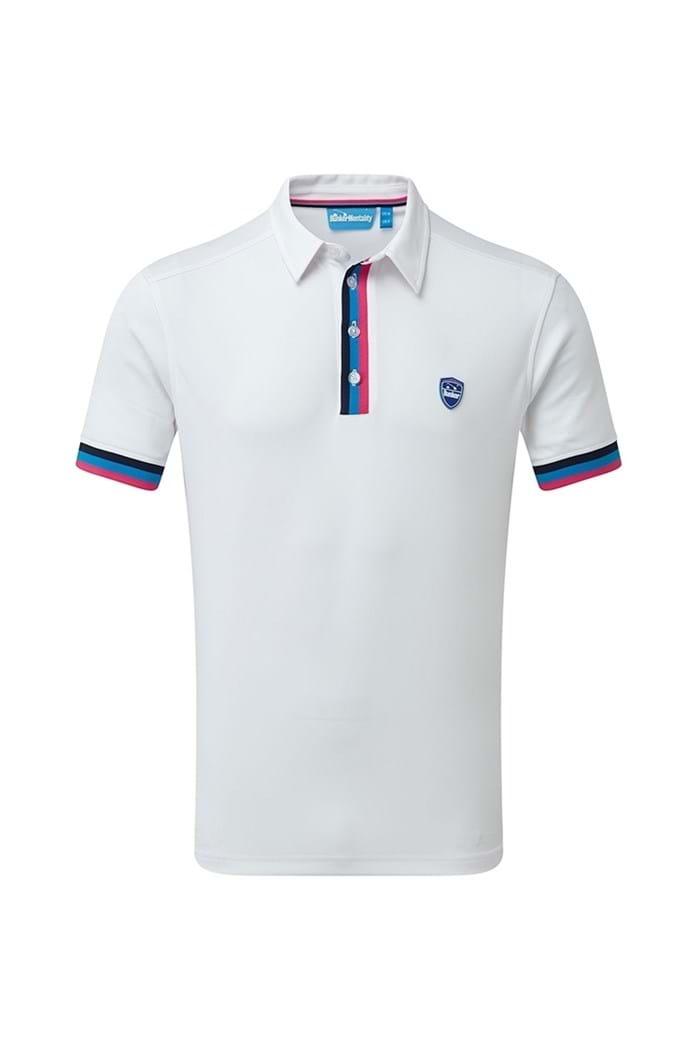 Picture of Bunker Mentality Tri Stripe Tech Polo Shirt - White