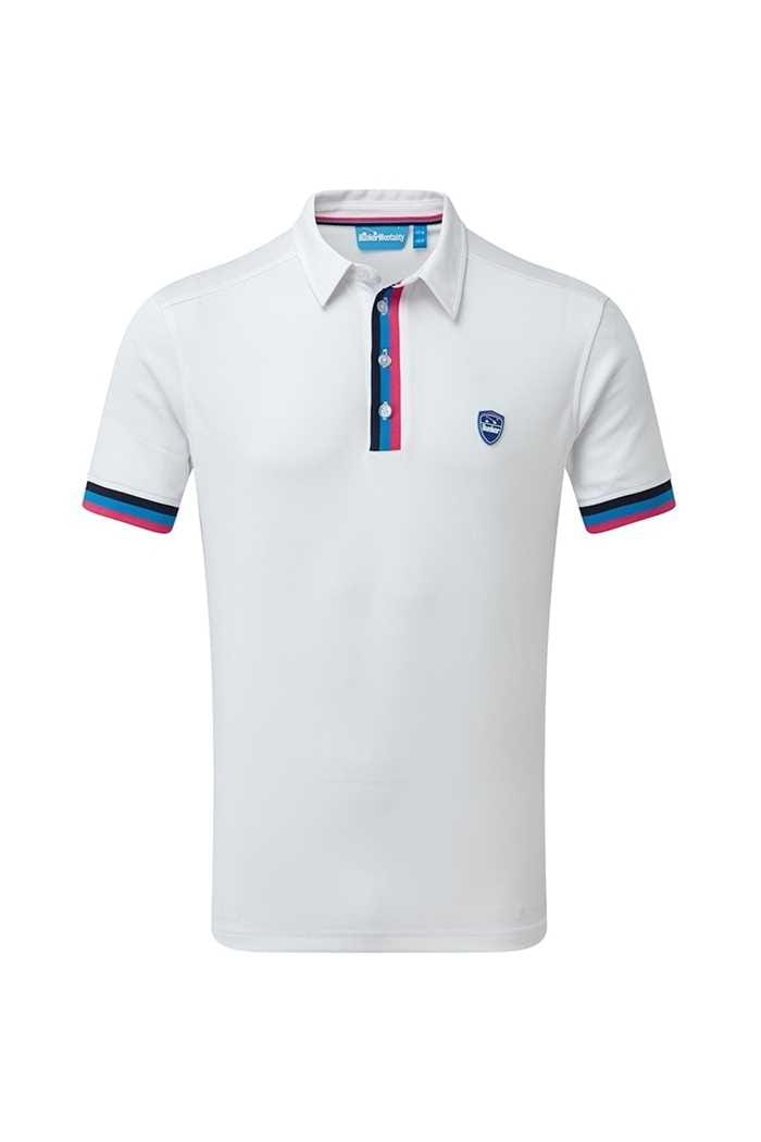 Picture of Bunker Mentality Tri Stripe Tech Polo Shirt - White