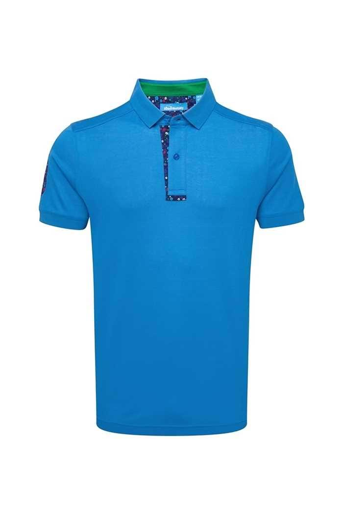 Picture of Bunker Mentality ZNS Cotton Floral Applique Polo Shirt - Bunker Blue