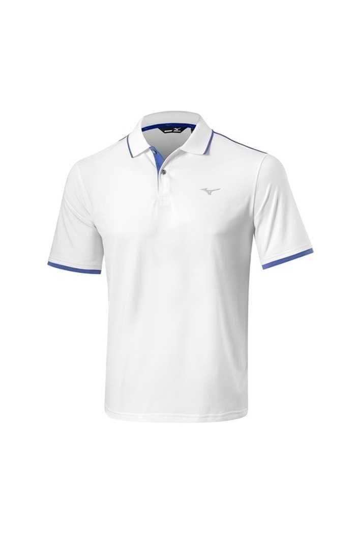 Picture of Mizuno ZNS Stretch Polo /Shirt - White / Baja Blue