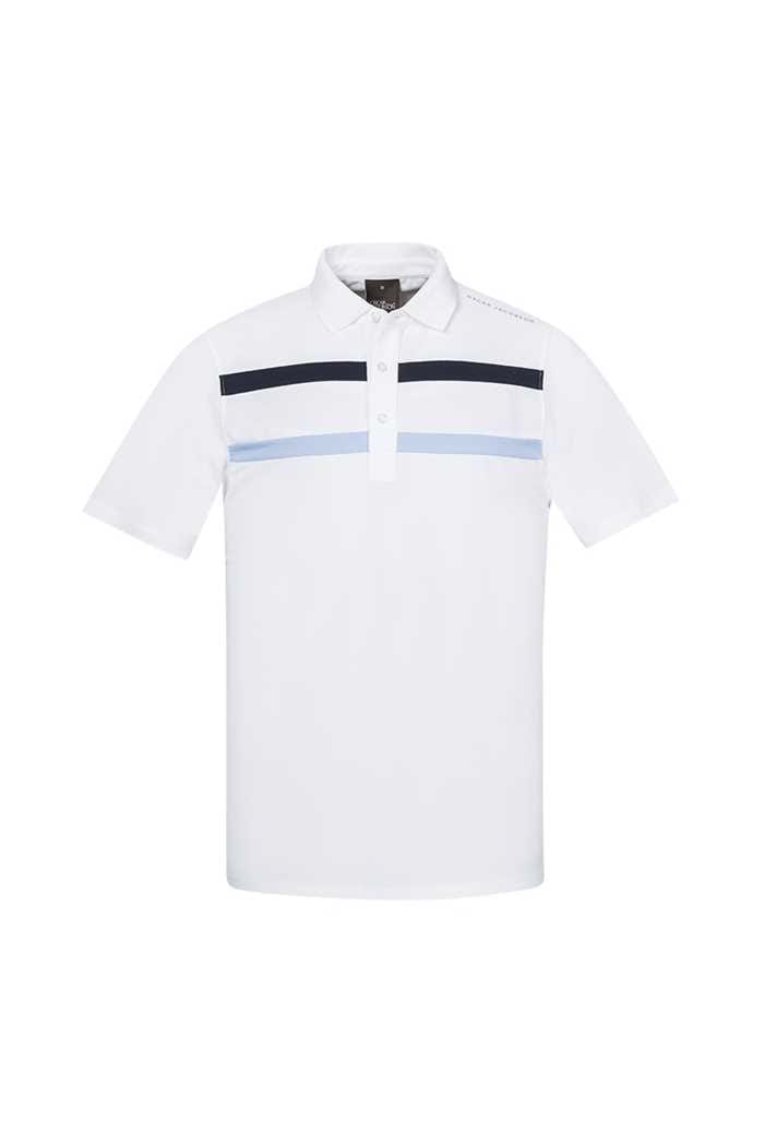 Picture of Oscar Jacobson ZNS Ace Course Polo Shirt - White / Navy / Sky