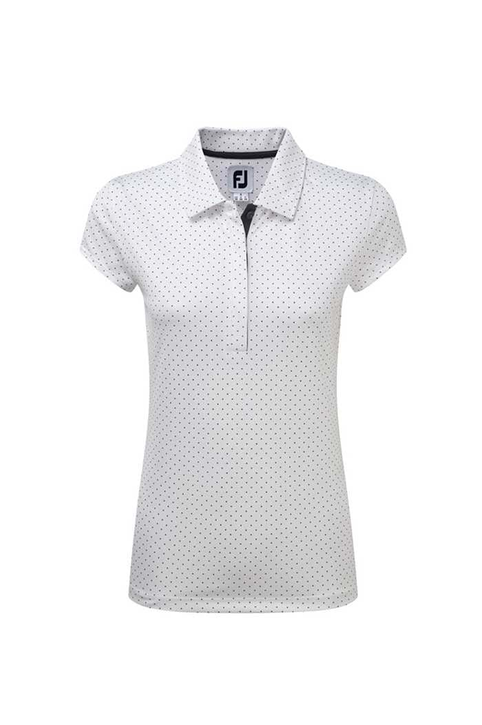 Picture of FootJoy ZNS Printed Dot Smooth Polo Shirt - White / Charcoal