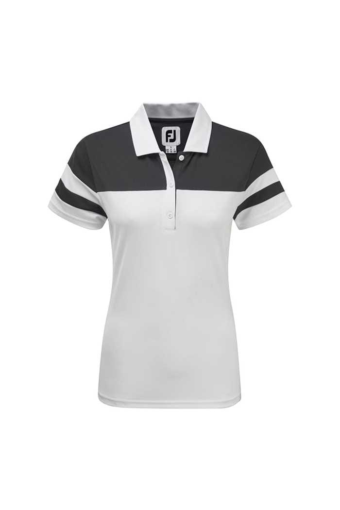 Picture of FootJoy ZNS Smooth  Pique Colour Block Polo Shirt - White / Charcoal