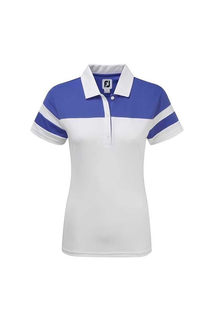 Picture of FootJoy zns Smooth Pique Colour Block Polo Shirt - White / Periwinkle